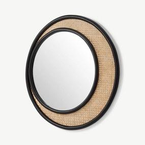 Coretta ronde wandspiegel van rotan 80cm, lichtbeige en zwart
