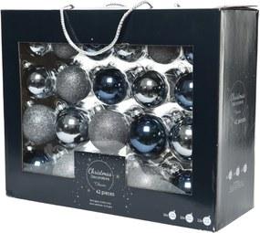 Kerstballen glas mix blauw assortie