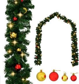 Kerstslinger versierd met kerstballen en LED-lampjes 5 m
