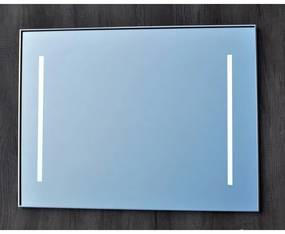 Sanicare Qmirrors LED Spiegel met Warm White Leds 60cm Sensor schakelaar 2 x verticale strook alu omlijsting LW2.70060A