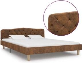 Bedframe kunstsuède bruin 160x200 cm