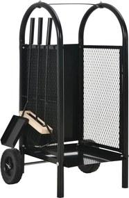 Brandhoutkar 30x35x81 cm staal zwart