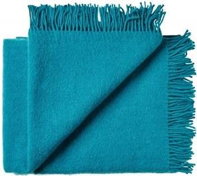 Plaid wol: effen, turquoise