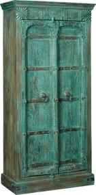 Indiase Vintage Kast Aqua Green - 96x42x200cm.