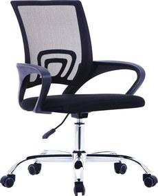 Kantoorstoel met mesh rugleuning stof zwart