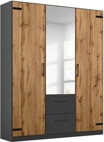 Goossens Basic Kledingkast Bastion, 136 cm breed, 197 cm hoog, 2x draai en 1x spiegeldeur en 2x lade in kleur van romp midden