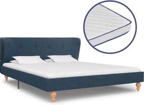 Bed met traagschuim matras stof blauw 140x200 cm