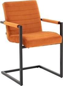 Goossens Basic Eetkamerstoel Otia Velours oranje stof met arm, urban industrieel