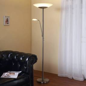 LED uplighter Ragna met leeslamp, nikkel mat - lampen-24