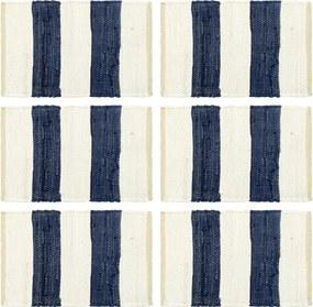 Placemats 6 st chindi gestreept 30x45 cm blauw en wit