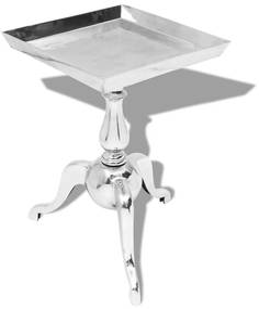 Bijzettafel vierkant aluminium zilver