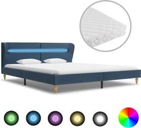 Bed met LED en matras stof blauw 160x200 cm