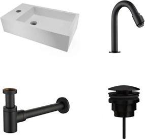 Fonteinset Nila Solid Surface Links 40x22x10cm Toiletkraan Knop clickwaste Sifon Mat Zwart