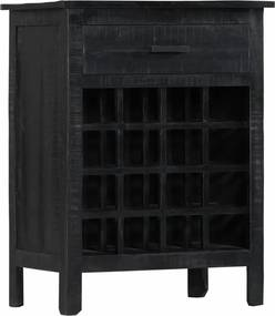 Wijnrek 56x35x75 cm massief mangohout zwart