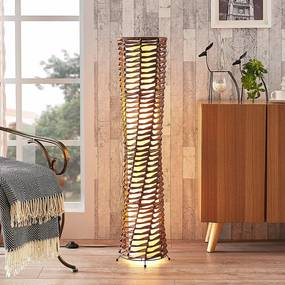 Decoratieve woonkamer-vloerlamp Joas in bruin - lampen-24