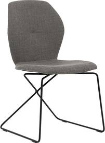 Goossens Eetkamerstoel Manzini bruin stof modern design