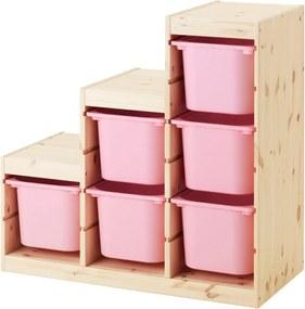 TROFAST Opbergcombinatie 94x44x91 cm licht wit gebeitst grenen/roze