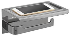 Toiletrolhouder met Telefoonplankje Best Design 18x12 cm RVS Geborsteld (zonder telefoon)