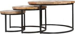 Salontafel rond set van 3 hout/metaal
