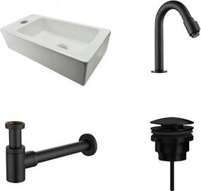 Fonteinset Rhea Rechthoek Links 36.5x18x9cm Toiletkraan knop Clickwaste Sifon Mat Zwart
