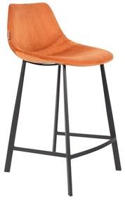 Dutchbone Franky Lage Fluwelen Barstoel Oranje