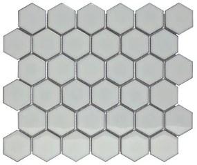 The Mosaic Factory Barcelona mozaïektegel 5.1x5.9x0.6cm wandtegel voor binnen en buiten hexagon porselein licht grijs AFH02076