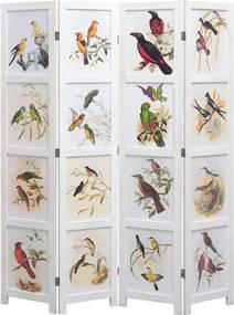 Kamerscherm met 4 panelen vogel 140x165 cm wit
