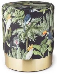 Poef jungle met vogels - Ø35x42 cm