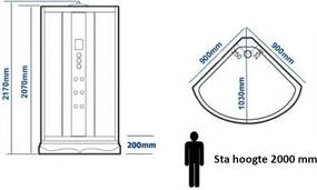 Stoomcabine Aqua Diamond 1 Persoons 90x90x220cm Mengkraan Regendouche Massagejets Voetmassage LED Verlichting