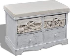 Opbergbank 62x33x42 cm paulowniahout wit
