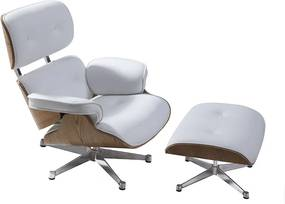 Eames Lounge Chair (replica) met ottoman/Hocker (set) - Wit Leder met