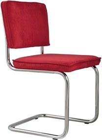Zuiver Ridge Rib stoel zonder armleuningen rood set van 2