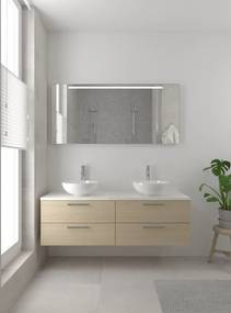 Combo badmeubelset 150 cm dubbel | spiegel bovenblad wit marmer - natuur eiken