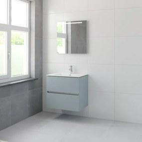 Bruynzeel Miko badmeubelset 66x71x51cm 1 kraangat 1 wasbak 2 lades met spiegel met softclose fjord groen 123102164