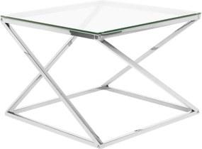 Salontafel glas/zilver BEVERLY