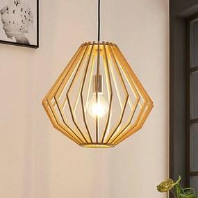 Hanglamp Sigge met houten lamellenkap - lampen-24
