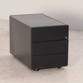 Verrijdbaar ladeblok, zwart, 42 x 78 cm, 49 cm hoog, 3 laden, incl. pennenlade