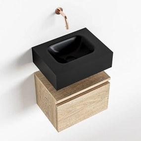 MONDIAZ ANDOR 40cm toiletmeubel washed oak. LEX 40cm wastafel urban midden geen kraangat