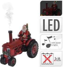 Kerstman op tractor 28 cm