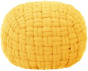 Poef gevlochten ontwerp 50x35 cm katoen mosterdgeel