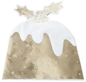 Servetten kerst pudding goud (12 stuks) - Gold Christmas