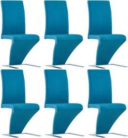 Eetkamerstoelen met zigzag-vorm 6 st kunstleer blauw