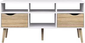 TV-meubel Delta 6-vaks - wit - 57,4x117,1x39 cm - Leen Bakker