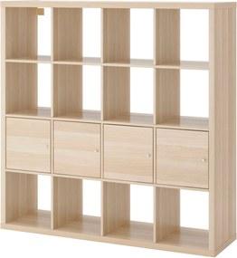 KALLAX Open kast met 4 inzetten 147x147 cm wit gelazuurd eikeneffect