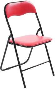 Moderne klapstoel, keukenstoel FELIX - kunststoffen stoel met beklede zit en rugleuning - rood/zwart
