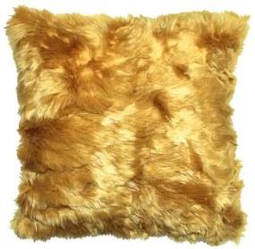 Kussen geel bont, vierkant, Fur Zonder binnenkussen