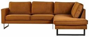 Hoekbank / Loungebank Stuart   Rechts   velours Adore cognac 28   2,48 x 1,97 mtr