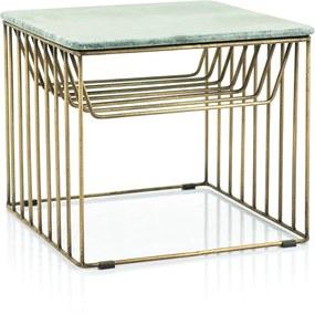 By-Boo Caesar Gouden Bijzettafel Met Marmer - Groen - 50 X 50cm.