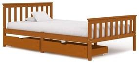 Medina Bedframe met 2 lades massief grenenhout honingbruin 120x200 cm