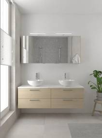 Combo badmeubelset 150 cm dubbel | spiegelkast bovenblad wit marmer - natuur eiken